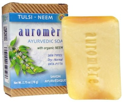 Auromere, Ayurvedic Soap, Tulsi-Neem, 2.75 oz (78 g) ,حمام، الجمال، الصابون
