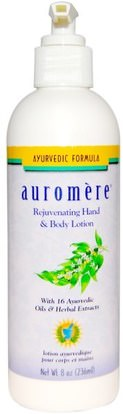 Auromere, Ayurvedic Formula, Rejuvenating Hand & Body Lotion, 8 oz (236 ml) ,حمام، الجمال، غسول الجسم