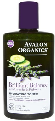 Avalon Organics, Brilliant Balance, With Lavender & Prebiotics, Hydrating Toner, 8 fl oz (237 ml) ,الجمال، أحبار الوجه