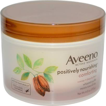 Aveeno, Active Naturals, Positively Nourishing, Cocoa + Shea Butters, Whipped Souffle, 6.0 oz (170 g) ,الجسم، بوسيتفيلي مغذية