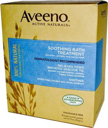 Aveeno, Active Naturals, Soothing Bath Treatment, Fragrance Free, 8 Single Use Bath Packets ,1.5 oz (42 g) Each. ,الجسم، العلاج الأكزيما