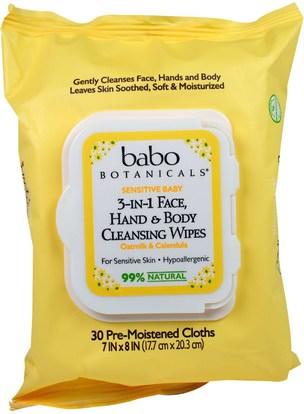 Babo Botanicals, 3-in-1 Sensitive Baby Face, Hand & Body Cleansing Wipes, Oatmilk & Calendula, 30 Pre-Moistened Cloth ,الجمال، العناية بالوجه، مناديل الوجه، حمام