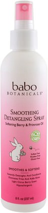 Babo Botanicals, Smooth Detangling Spray, Berry Primrose, 8 fl oz (237 ml) ,حمام، الجمال، مكيفات، الاطفال مكيفات، الاطفال ديتانغلر