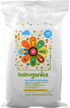 BabyGanics, Face, Hand & Baby Wipes, Fragrance Free, 40 Wipes, (8.0 in x 6.0 in) Each ,صحة الطفل، حفاضات، مناديل الطفل