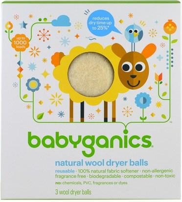 BabyGanics, Natural Wool Dryer Balls, 3 Wool Dryer Balls ,المنزل، الغسيل