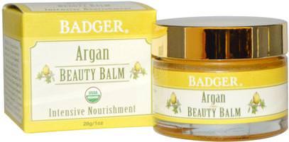 Badger Company, Beauty Balm, Argan, 1 oz (28 g) ,حمام، الجمال، أرجان، العناية بالبشرة