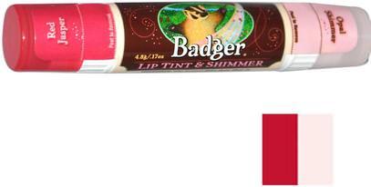 Badger Company, Lip Tint & Shimmer, Red Jasper/Opal Shimmer.17 oz (4.8 g) ,حمام، الجمال، أحمر الشفاه، لمعان، بطانة، العناية الشفاه، بلسم الشفاه