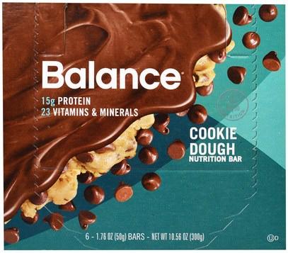 Balance Bar, Nutrition Bar, Cookie Dough, 6 Bars, 1.76 oz (50 g) Each ,والمكملات الغذائية، والحانات الغذائية، والوجبات الخفيفة، والوجبات الخفيفة الصحية