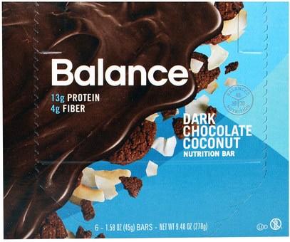 Balance Bar, Nutrition Bar, Dark Chocolate Coconut, 6 Bars, 1.58 oz (45 g) Each ,والمكملات الغذائية، والحانات الغذائية، والوجبات الخفيفة، والوجبات الخفيفة الصحية