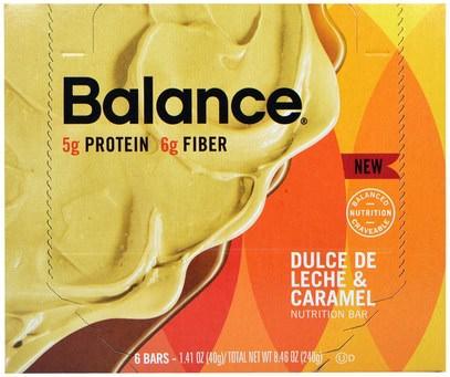 Balance Bar, Nutrition Bar, Dulce De Leche & Caramel, 6 Bars, 1.41 oz (40 g) Each ,والمكملات الغذائية، والحانات الغذائية، والوجبات الخفيفة، والوجبات الخفيفة الصحية