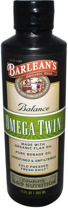 Barleans, Omega Twin, Complete 3-6-9 Nutrition, 12 fl oz (350 ml) ,المكملات الغذائية، إيفا أوميجا 3 6 9 (إيبا دا)، بارلانز أوميجا