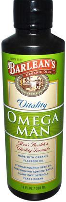 Barleans, Organic Oils, Omega Man, Mens Health & Vitality Formula, 12 fl oz (350 ml) ,المكملات الغذائية، إيفا أوميجا 3 6 9 (إيبا دا)، بارلانز مين