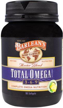 Barleans, Total Omega 3 6 9, Master Blend, Lemonade Flavor, 90 Softgels ,المكملات الغذائية، إيفا أوميجا 3 6 9 (إيبا دا)، أوميغا 369 قبعات / علامات التبويب