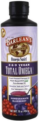 Barleans, Total Omega 369 Vegan, Pomegranate Blueberry, 16 oz (454 g) ,المكملات الغذائية، إيفا أوميجا 3 6 9 (إيبا دا)، بارلانز أوميجا
