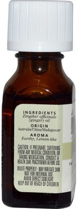 حمام، الجمال، الزيوت العطرية الزيوت، زيت الزنجبيل Aura Cacia, 100% Pure Essential Oil, Ginger.5 fl oz (15 ml)