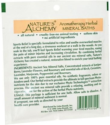 حمام، الجمال، أملاح الاستحمام Natures Alchemy, Aromatherapy Herbal Mineral Baths, Sport Relief, Trial Size, 1 oz