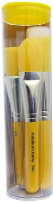 حمام، الجمال، هدية مجموعات، مستحضرات التجميل هدية مجموعات، أدوات ماكياج، فرش ماكياج Bdellium Tools, Yellow Bambu Series, Foundation, 4 Piece Brush Set