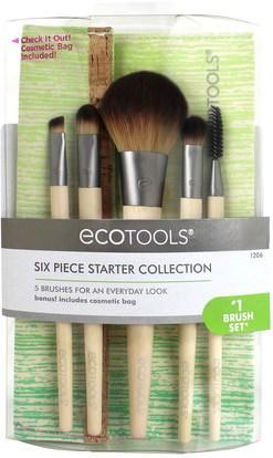 حمام، الجمال، هدية مجموعات، مستحضرات التجميل هدية مجموعات، السفر عينة أطقم EcoTools, Bamboo 6 Piece Brush Set, 1 Set