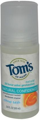 حمام، الجمال، مزيل العرق الحجارة Toms of Maine, Deodorant Crystal, Natural Confidence, Citrus Zest, 2.4 fl oz (68 ml)