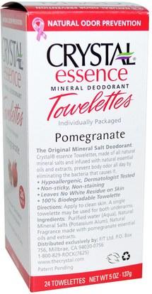 حمام، الجمال، مزيل العرق المرأة Crystal Body Deodorant, Crystal Essence Mineral Deodorant Towelettes, Pomegranate, 24 Towelettes, 0.1 oz (4 g) Each