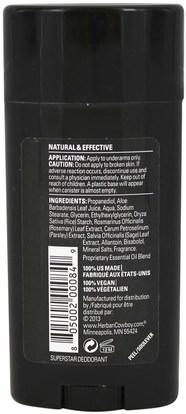 حمام، الجمال، مزيل العرق المرأة Herban Cowboy, Maximum Protection Deodorant, For Her, Superstar, 2.8 oz (80 g)