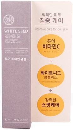 حمام، الجمال، العناية بالوجه، الكريمات المستحضرات، الأمصال The Face Shop, White Seed, Pure Vitamin Concentrate, 0.40 fl oz (12 ml)