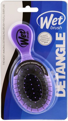 حمام، الجمال، دقة بالغة، فروة الرأس Wet Brush, Squirt Detangler Brush, Purple, 1 Brush