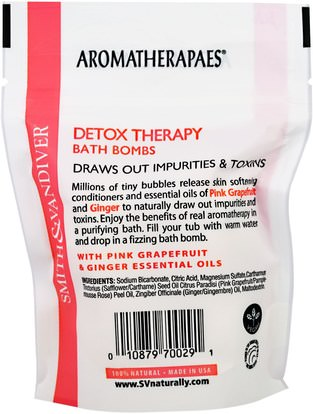 حمام، الجمال، الصحة Smith & Vandiver, Detox Therapy Bath Bombs with Pink Grapefruit & Ginger Essential Oils, 4 Effervescent Bath Balls, 0.8 oz (22 g) Each