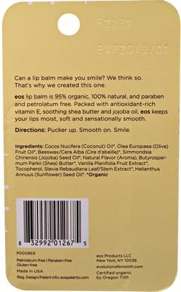 حمام، الجمال، العناية الشفاه، بلسم الشفاه EOS, Lip Balm, Vanilla Bean, 2 Pack.14 oz (4 g) Each