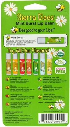 حمام، الجمال، العناية الشفاه، بلسم الشفاه، النحل سيرا العضوية بلسم الشفاه Sierra Bees, Organic Lip Balms, Mint Burst, 8 Pack.15 oz (4.25 g) Each