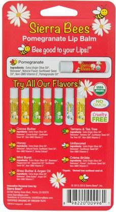 حمام، الجمال، العناية الشفاه، بلسم الشفاه، النحل سيرا العضوية بلسم الشفاه Sierra Bees, Organic Lip Balms, Pomegranate, 8 Pack.15 oz (4.25 g) Each