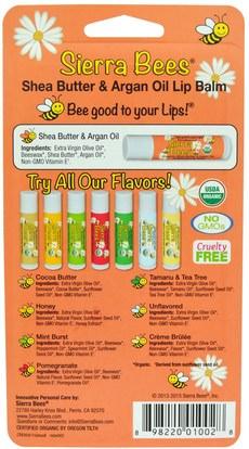 حمام، الجمال، العناية الشفاه، بلسم الشفاه، النحل سيرا العضوية بلسم الشفاه Sierra Bees, Organic Lip Balms, Shea Butter & Argan Oil, 8 Pack.15 oz (4.25 g) Each
