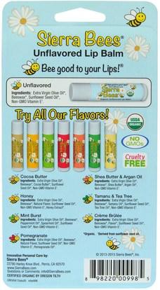 حمام، الجمال، العناية الشفاه، بلسم الشفاه، النحل سيرا العضوية بلسم الشفاه Sierra Bees, Organic Lip Balms, Unflavored, 8 Pack.15 oz (4.25 g) Each
