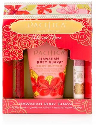 حمام، الجمال، أحمر الشفاه، لمعان، بطانة، غسول الجسم Pacifica, Take Me There Set, Hawaiian Ruby Guava, 3 Piece Kit