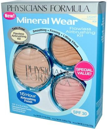 حمام، الجمال، ماكياج، استحى، مسحوق مضغوط Physicians Formula, Inc., Mineral Wear, Flawless Airbrushing Kit, Light Complexion