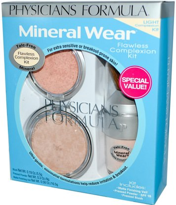 حمام، الجمال، ماكياج، استحى، مسحوق مضغوط Physicians Formula, Inc., Mineral Wear, Flawless Complexion Kit, Light