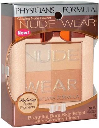 حمام، الجمال، ماكياج، استحى Physicians Formula, Inc., Nude Wear, Glowing Nude Powder, Light, 0.24 oz (7 g)
