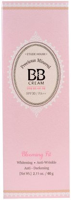حمام، الجمال، ماكياج، السائل ماكياج Etude House, Precious Mineral BB Cream Blooming Fit, Light Beige NO2, 2.11 oz (60 g)