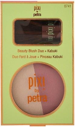 حمام، الجمال، ماكياج Pixi Beauty, Beauty Blush Duo + Kabuki, Rose Gold, 0.36 oz (10.21 g)