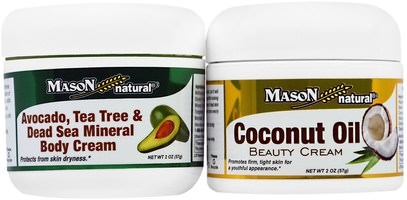 حمام، الجمال، هدية مجموعات Mason Naturals, Avocado, Tea Tree & Dead Sea Mineral Body Cream + Coconut Oil Beauty Creams, 2 Jars, 2 oz (57 g) Each