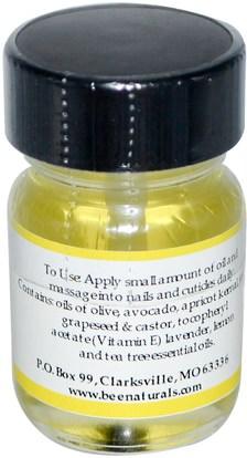 حمام، الجمال، زيوت العناية بالأظافر، النحل الأصلي الطبيعية Bee Naturals, Cuticle and Nail Oil, 0.5 oz