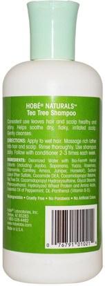 حمام، الجمال، الشامبو، الشعر، فروة الرأس، مكيف Hobe Labs, Shampoo, Tea Tree, 10 fl oz (296 ml)