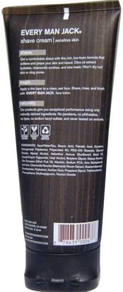 حمام، الجمال، كريم الحلاقة Every Man Jack, Shave Cream, Sensitive Skin, Fragrance Free, 6.7 fl oz (200 ml)