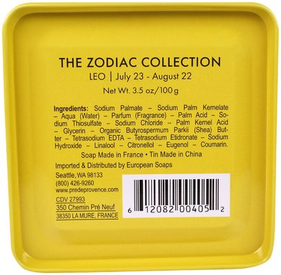 حمام، الجمال، الصابون، الصحة، بشرة European Soaps, LLC, Pre De Provence, The Zodiac Collection, Leo, 3.5 oz (100 g)