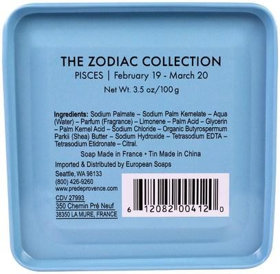 حمام، الجمال، الصابون، الصحة، بشرة European Soaps, LLC, Pre De Provence, The Zodiac Collection, Pisces, 3.5 oz (100 g)