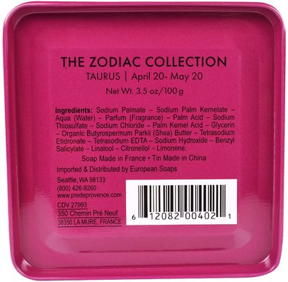 حمام، الجمال، الصابون، الصحة، بشرة European Soaps, LLC, Pre De Provence, The Zodiac Collection, Taurus, 3.5 oz (100 g)