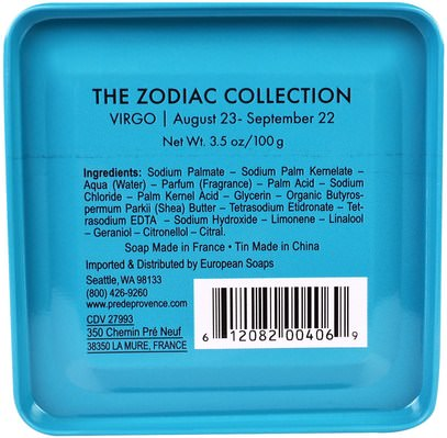 حمام، الجمال، الصابون، الصحة، بشرة European Soaps, LLC, Pre De Provence, The Zodiac Collection, Virgo, 3.5 oz (100 g)