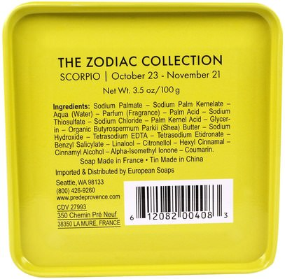 حمام، الجمال، الصابون، زبدة الشيا European Soaps, LLC, Pre De Provence, The Zodiac Collection, Scorpio, 3.5 oz (100 g)