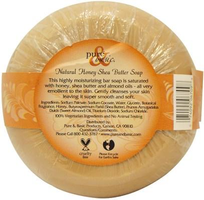 حمام، الجمال، الصابون، زبدة الشيا Pure & Basic, Natural Bar Soap, Honey Shea Butter, 6.4 oz (180 g)