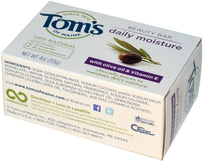 حمام، الجمال، الصابون Toms of Maine, Natural Beauty Bar, Daily Moisture with Olive Oil & Vitamin E, 4 oz (113 g)